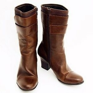 BORN LEATHER ZIP MID CALF BOOTS